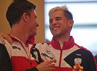 Austria, Kitzbuhel, Juli 16, 2015, Tennis, Davis Cup, Draw, Dominic Thiem (AUT) (R) hugs a team member<br /> Photo: Tennisimages/Henk Koster