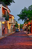 Evening on Charlotte Street in historic downtown St. Augustine, Florida