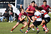 Seb Macdonald of Kings College charges forward during the College 1st XV Rugby - Scots College v Kings College at Scots College, Wellington, New Zealand on Saturday 8 May 2021.<br /> Copyright photo: Masanori Udagawa /  www.photosport.nz