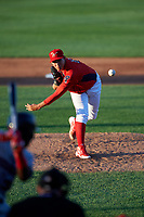 Williamsport Crosscutters relief pitcher Jhon Nunez (47) delivers a pitch during a game against the Mahoning Valley Scrappers on July 8, 2017 at BB&T Ballpark at Historic Bowman Field in Williamsport, Pennsylvania.  Williamsport defeated Mahoning Valley 6-1.  (Mike Janes/Four Seam Images)