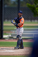 Houston Astros catcher Cesar Salazar (94) during a Minor League Spring Training Intrasquad game on March 28, 2019 at the FITTEAM Ballpark of the Palm Beaches in West Palm Beach, Florida.  (Mike Janes/Four Seam Images)
