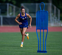 CLEVELAND, OH - SEPTEMBER 14: Carli Lloyd of the United States sprints during a training session at the training fields on September 14, 2021 in Cleveland, Ohio.