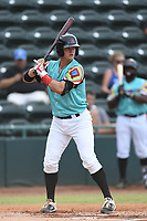 Josh Jung (15) of Las Llamas de Hickory at bat during a game against Los Rapidos de Kannapolis at L.P. Frans Stadium on July 17, 2019 in Hickory, North Carolina. The Llamas defeated the Rapidos 7-5. (Tracy Proffitt/Four Seam Images)