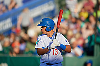 Luis Paz (13) of the Ogden Raptors bats against the Orem Owlz in Pioneer League action at Lindquist Field on June 27, 2017 in Ogden, Utah. Ogden defeated Orem 14-5. (Stephen Smith/Four Seam Images)