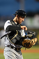 Jupiter Hammerheads catcher Austin Barnes (9) looks to the dugout during a game against the Bradenton Marauders on April 19, 2014 at McKechnie Field in Bradenton, Florida.  Bradenton defeated Jupiter 4-0.  (Mike Janes/Four Seam Images)