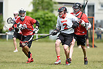 GER - Hannover, Germany, May 31: During the Men Lacrosse Playoffs 2015 match between SCC Blax Berlin (white) and SC 1880 Frankfurt (red) on May 31, 2015 at Deutscher Hockey-Club Hannover e.V. in Hannover, Germany. Final score 14:6. (Photo by Dirk Markgraf / www.265-images.com) *** Local caption ***?Constantin Klinger #80 of SC 1880 Frankfurt, Bjarne Lenzig #2 of SCC BLAX, Jochen Ruhl #14 of SC 1880 Frankfurt
