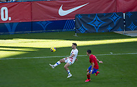 CARSON, CA - FEBRUARY 1: Paul Arriola #7 of the United States traps a ball during a game between Costa Rica and USMNT at Dignity Health Sports Park on February 1, 2020 in Carson, California.