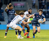 28th May 2021; AJ Bell Stadium, Salford, Lancashire, England; English Premiership Rugby, Sale Sharks versus Bristol Bears; AJ Macginty of Sale Sharks is tackled by Piers O'Conor of Bristol Bears