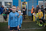 Runcorn Town 1 Runcorn Linnets 0, 26/12/2013. The Pavilions, North West Counties League Premier Division. Club mascots wearing home team shirts prepare for the arrival of the players before the Boxing Day derby match between Runcorn Town and visitors Runcorn Linnets at the Pavilions, Runcorn, in a top-of the table North West Counties League premier division match. Runcorn Linnets won 1-0 and overtook their neighbours at the top of the league in a game watched by 803 spectators. Runcorn Linnets were a successor club to Runcorn FC, one of England foremost non-League clubs of the 1970s and 1980s. Photo by Colin McPherson.