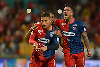 MEDELLÍN - COLOMBIA, 28-01-2020:Javier Reina del Independiente Medellín celebra después de anotar el Segundo gol de su equipo partido entre Independiente Medellín y Rionegro por la fecha 2 de la Liga BetPlay I 2020 jugado en el estadio Atanasio Girardot de la ciudad de Medellín. / Javier Reina of Independiente Medellin celebrates after scoring the second goal of his team during match between Deportivo Independiente Medellin and Rionegro for the date 2 as part of BetPlay League I 2020 played at Atanasio Girardot stadium in Medellin. Photo: VizzorImage / León Monsalve / Cont /