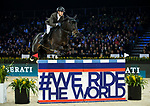 Simon Delestre of France riding Chadino competes in the Longines Speed Challenge during the Longines Masters of Hong Kong at AsiaWorld-Expo on 10 February 2018, in Hong Kong, Hong Kong. Photo by Ian Walton / Power Sport Images