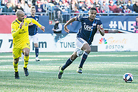 Foxborough, Massachusetts - March 9, 2019:  The New England Revolution (blue/white) beat The Columbus Crew (yellow) 1-0 in a Major League Soccer (MLS) match at Gillette Stadium.