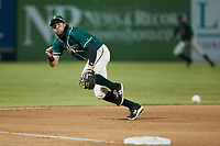 Greensboro Grasshoppers third baseman Jared Triolo (19) on defense against the Hickory Crawdads at First National Bank Field on May 6, 2021 in Greensboro, North Carolina. (Brian Westerholt/Four Seam Images)