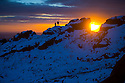 04/02/15<br /> <br /> With no end in sight for the freezing conditions gripping the country,  two climbers stand on rocks to marvel at an awe-inspiring sunset over The Roaches in the Staffordshire Peak District near Leek.<br /> <br /> All Rights Reserved - F Stop Press.  www.fstoppress.com. Tel: +44 (0)1335 418629 +44(0)7765 242650