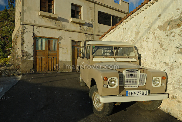 Spanish-built 1970's Santana Land Rover Series 3 LWB truck-cab. Spain, Canary Islands, Teneriffe, 2007. --- No releases available. Automotive trademarks are the property of the trademark holder, authorization may be needed for some uses. --- Info: From the mid 1950's untill the early 1990's the english Land Rover was also built under license in Spain. The spanish company Metalurgica de Santa Ana (later to become Santana Motor SA), was producing Land Rovers in the beginning from CKD kits, but local content was gradually increased until the Santanas (this is how they were called) were 100 per cent locally manufactured.