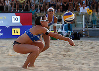 Italy's Greta Cicolari and Marta Menegatti, background, in action at the Beach Volleyball World Tour Grand Slam, Foro Italico, Rome, 21 June 2013.<br /> UPDATE IMAGES PRESS/Isabella Bonotto
