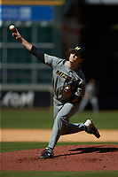 Missouri Tigers starting pitcher Ian Bedell (32) delivers a pitch to the plate against the Baylor Bears in game one of the 2020 Shriners Hospitals for Children College Classic at Minute Maid Park on February 28, 2020 in Houston, Texas. The Bears defeated the Tigers 4-2. (Brian Westerholt/Four Seam Images)