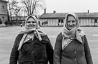 Bosnian women at the Varazdin refugee camp in the winter of 1992.