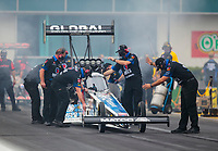 Sep 27, 2020; Gainesville, Florida, USA; Crew members for NHRA top fuel driver Antron Brown during the Gatornationals at Gainesville Raceway. Mandatory Credit: Mark J. Rebilas-USA TODAY Sports
