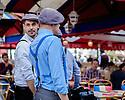 Paris, France. 09.05.2015. Waiters at a cafe, Place du Tertre, Montmartre, Paris, France. Photograph © Jane Hobson.