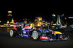 Infiniti Red Bull Racing RB10 car is photographed against against The Bund waterfront in Shanghai, China. Photo by Victor Fraile / Power Sport Images