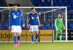 St Johnstone v Motherwell…..12.02.20   McDiarmid Park   SPFL<br />Zander Clark reacts to Chris Long's equaliser<br />Picture by Graeme Hart.<br />Copyright Perthshire Picture Agency<br />Tel: 01738 623350  Mobile: 07990 594431