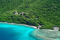 Aerial view of Annaberg Sugar Plantation Ruins<br /> Virgin Islands National Park<br /> St. John, U.S. Virgin Islands