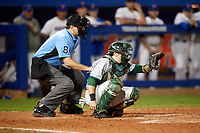 Home plate umpire Josh Miller and Siena Saints catcher Phil Madonna (3) await the pitch during a game against the Florida Gators on February 16, 2018 at Alfred A. McKethan Stadium in Gainesville, Florida.  Florida defeated Siena 7-1.  (Mike Janes/Four Seam Images)