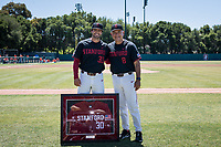 STANFORD, CA - MAY 29: Senior Zach Grech, David Esquer before a game between Oregon State University and Stanford Baseball at Sunken Diamond on May 29, 2021 in Stanford, California.