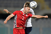 Oleg Reabciuk of Moldova and Manuel Lazzari of Italy compete for the ball during the friendly football match between Italy and Moldova at Artemio Franchi Stadium in Firenze (Italy), October, 7th 2020. Photo Andrea Staccioli/ Insidefoto