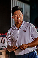 21 September 2018: Washington Nationals Athletic Training Assistant John Hsu watches from the dugout during a game against the New York Mets at Nationals Park in Washington, DC. The Mets defeated the Nationals 4-2 in the second game of their 4-game series. Mandatory Credit: Ed Wolfstein Photo *** RAW (NEF) Image File Available ***
