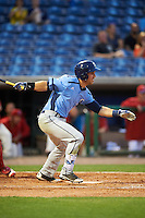 Charlotte Stone Crabs right fielder Jace Conrad (19) at bat during a game against the Clearwater Threshers on April 12, 2016 at Bright House Field in Clearwater, Florida.  Charlotte defeated Clearwater 2-1.  (Mike Janes/Four Seam Images)