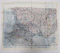 BNPS.co.uk (01202 558833)<br /> Pic: Marlow's/BNPS<br /> <br /> Pictured: RAF Silk Escape Map of Europe<br /> <br /> A fascinating collection of rare SOE and RAF escape and evasion items have emerged for sale for thousands of pounds.<br /> <br /> The array of concealed weapons, compasses and other devices were used by World War Two operatives and airmen behind enemy lines.<br /> <br /> A stand-out lot is a MI9 cigarette lighter whose top screws off to reveal a compass, while a 3.5ins escape knife would have been hidden in an RAF 'Beadon' flying suit.<br /> <br /> The collection of 20 items boasts a concealed fishing kit, silk maps which were woven into jackets and even a miniature telescope to scout out the enemy.<br /> <br /> They are going under the hammer with Marlow's Auctions, of Stafford, Staffs.