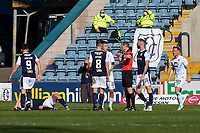 24th April 2021; Dens Park, Dundee, Scotland; Scottish Championship Football, Dundee FC versus Raith Rovers; Referee Willie Collum red cards Dylan Tait of Raith Rovers for a bad challenge on Paul McGowan of Dundee