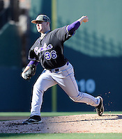 Pitcher Alex Barr (36) of the Western Carolina Catamounts in a game against the Cincinnati Bearcats on Sunday, February 24, 2013, at Fluor Field in Greenville, South Carolina. Cincinnati won in 10 innings, 7-6. (Tom Priddy/Four Seam Images)