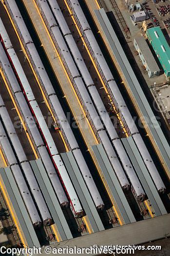 aerial photograph CalTrain commuter rail terminal San Francisco California