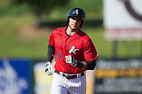 Brandon Dulin (31) of the Kannapolis Intimidators rounds the bases after hitting a home run against the Hagerstown Suns at Kannapolis Intimidators Stadium on June 14, 2017 in Kannapolis, North Carolina.  The Intimidators defeated the Suns 4-1 in game one of a double-header.  (Brian Westerholt/Four Seam Images)