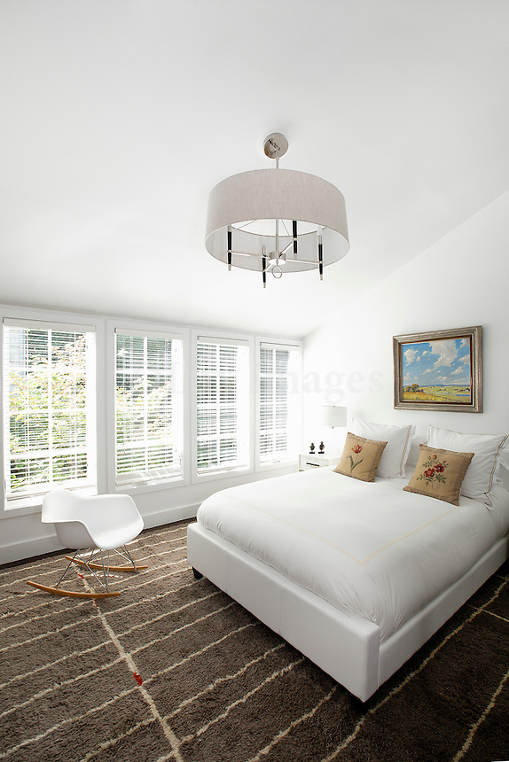 contemporary bedroom with garden view