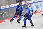 Torjubel bei den beiden Torschützen Mirko Höfflin (Nr.10 - ERC Ingolstadt) und Tim Wohlgemuth (Nr.33 - ERC Ingolstadt) nach dem 2:1  beim Spiel im Halbfinale der DEL, ERC Ingolstadt (dunkel) - Eisbaeren Berlin (hell).<br /> <br /> Foto © PIX-Sportfotos *** Foto ist honorarpflichtig! *** Auf Anfrage in hoeherer Qualitaet/Aufloesung. Belegexemplar erbeten. Veroeffentlichung ausschliesslich fuer journalistisch-publizistische Zwecke. For editorial use only.