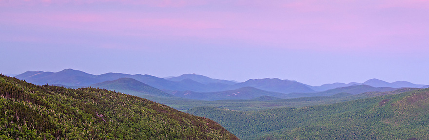 A lumpy landscape makes up the view south in this sunrise panoramic image.