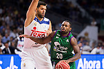 Real Madrid's player Felipe Reyes and Unicaja Malaga's player Oliver Lafayette during match of Liga Endesa at Barclaycard Center in Madrid. September 30, Spain. 2016. (ALTERPHOTOS/BorjaB.Hojas)