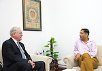 27 October 2015, New Delhi, India : Andrew  Robb, AO, Minister for Trade and Investment with Dr Arvind Subramanian, Chief Economic Adviser to the Indian Government during his visit to India. Picture by Graham Crouch/DFAT
