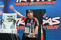 Sept. 1, 2012; Claremont, IN, USA: NHRA top fuel dragster driver David Grubnic during qualifying for the US Nationals at Lucas Oil Raceway. Mandatory Credit: Mark J. Rebilas-