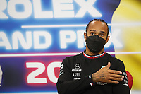 29th August 2021; Spa Francorchamps, Stavelot, Belgium: FIA F1 Grand Prix of Belgium,  race day: After cancellation of the race due to standing water on track,  HAMILTON Lewis (gbr), Mercedes AMG F1 GP W12 E Performance  press conference after raceHAMILTON Lewis (gbr), Mercedes AMG F1 GP W12 E Performance  press conference after race