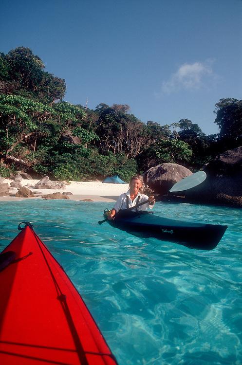 Thailand, Similan Islands National Park, Andaman Sea, Southeast Asia, sea kayaking to a perfect beach