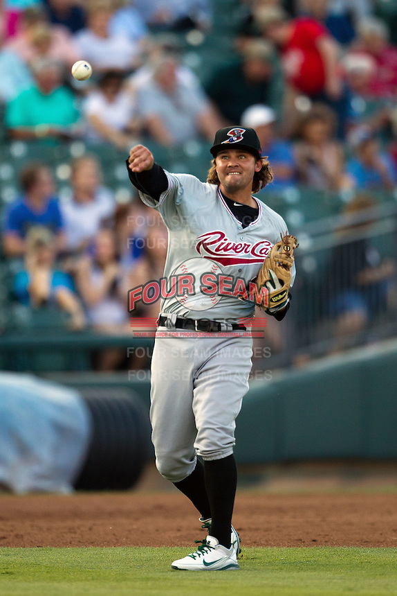 Sacramento River Cats third baseman Wes Timmons #6 throws to first base during the Pacific Coast League baseball game against the Round Rock Express on May 22, 2012 at The Dell Diamond in Round Rock, Texas. The Express defeated the River Cats 11-5. (Andrew Woolley/Four Seam Images)