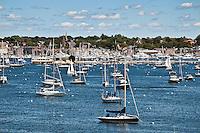Boats in harbor, Newport, RI, Rhode Island, USA