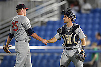 Brevard County Manatees pitcher Tanner Poppe (25) and catcher Cameron Garfield (7) congratulate each other after closing out a game against the Dunedin Blue Jays on April 11, 2014 at Florida Auto Exchange Stadium in Dunedin, Florida.  Brevard County defeated Dunedin 5-2.  (Mike Janes/Four Seam Images)