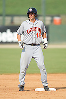 Rick Hague #18 of the Hagerstown Suns stands on second base after hitting a double against the Kannapolis Intimidators at Fieldcrest Cannon Stadium August 8, 2010, in Kannapolis, North Carolina.  Photo by Brian Westerholt / Four Seam Images