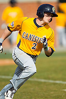 Ronnie Bernick (2) of the Canisius Golden Griffins hustles down the first base line against the Charlotte 49ers at Hayes Stadium on February 23, 2014 in Charlotte, North Carolina.  The Golden Griffins defeated the 49ers 10-1.  (Brian Westerholt/Four Seam Images)